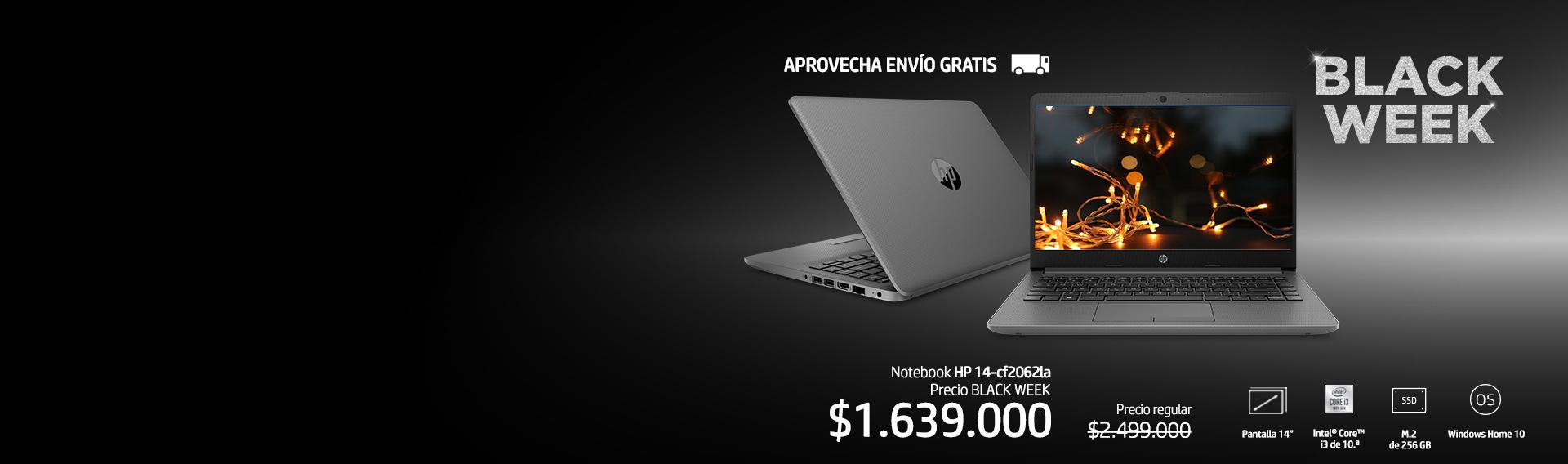 Notebook HP 14-cf2062la ahorra 34%* + 10%** adicional con cupón: BLACKHP