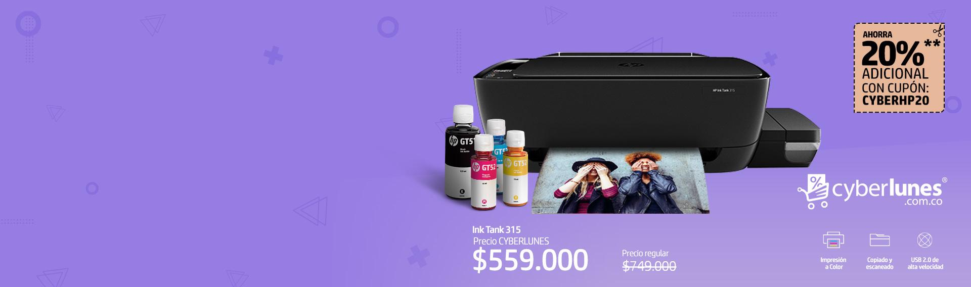 HP Ink Tank 315 ahorra 25%* + Cupón ¡Imprime lo que necesites!