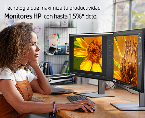 Monitores HP con hasta 15%* dcto.