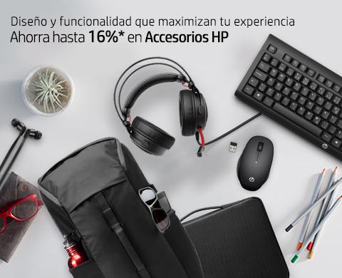 Diseño y funcionalidad que maximizan tu experiencia. Ahorra hasta 16%* en Accesorios HP.