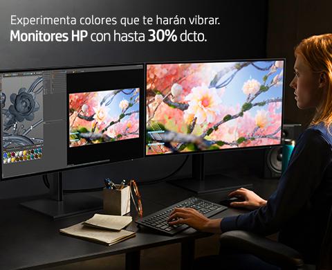 Experimenta colores que te harán vibrar. Monitores HP con hasta 30%* dcto.