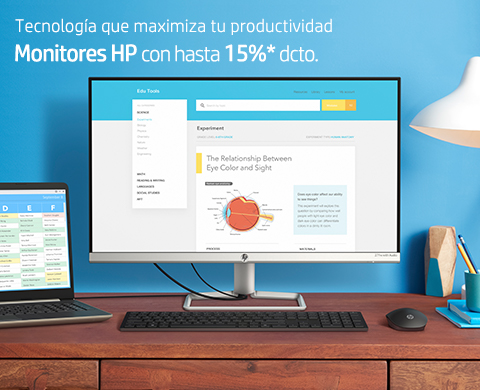 Monitores HP con hasta 15%* dcto.