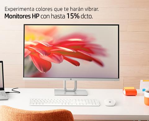 Experimenta colores que te harán vibrar. Monitores HP con hasta 15% dcto.
