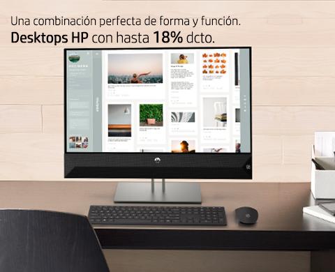 Una combinación perfecta de forma y función. Desktops HP con 18% dcto.
